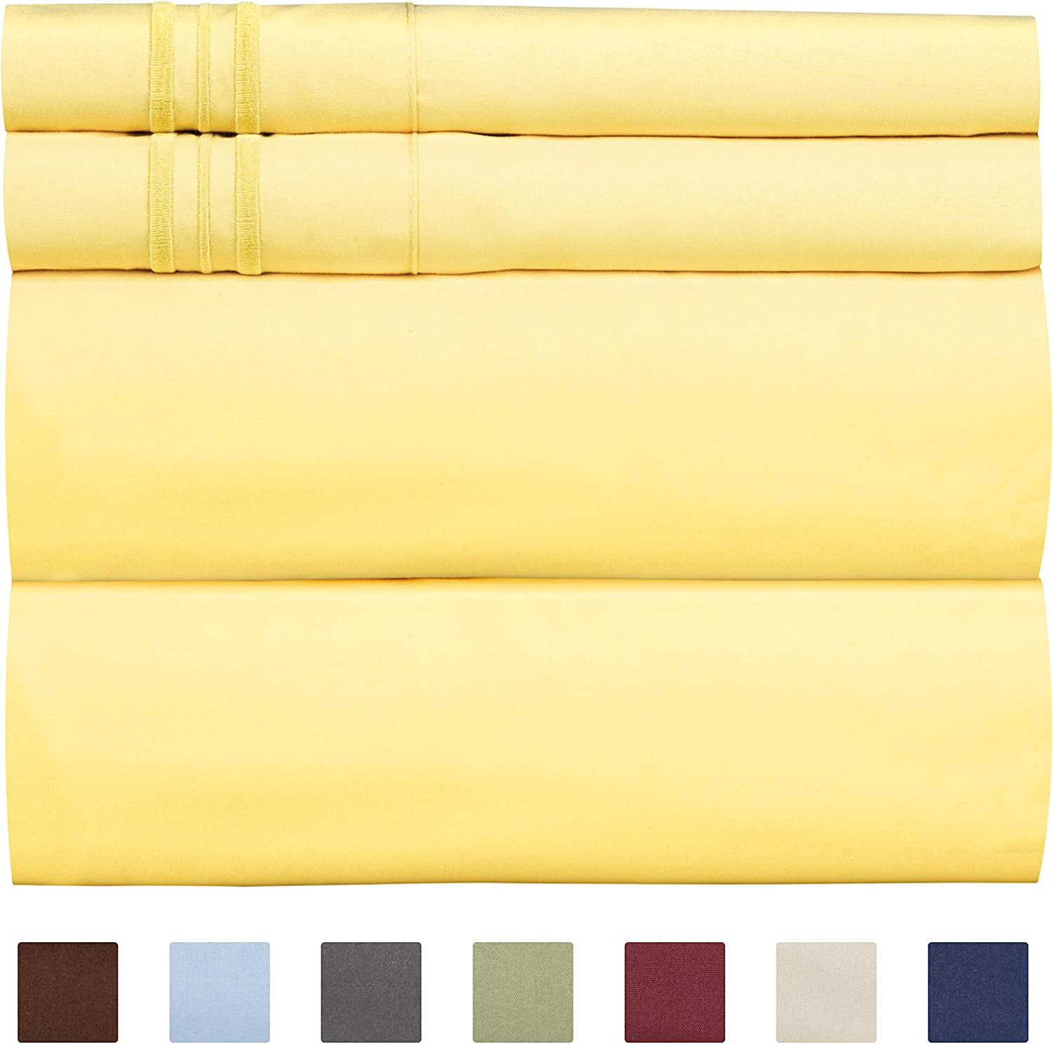 Full Size Sheet Set - 4 Piece - Hotel Luxury Bed Sheets - Extra Soft - Deep Pockets - Easy Fit - Breathable & Cooling Sheets - Wrinkle Free - Comfy – Yellow Bed Sheets - Fulls Sheets – 4 PC
