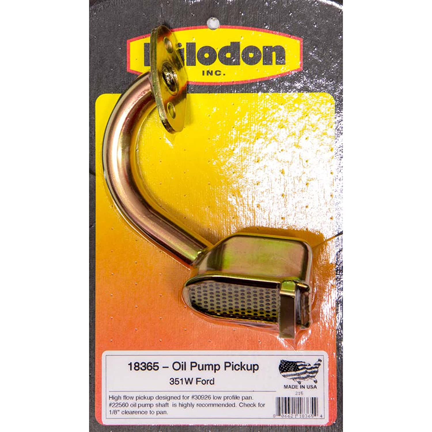 Milodon 18365 Gold Zinc Plated Low Profile Oil Pan Pickup for Ford 351W