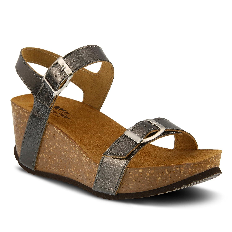 SPRING STEP Shoes Women's Shiri | Color Pewter | Trendy Metallic Leather Sandal B0789SHJ6F 40 M EU