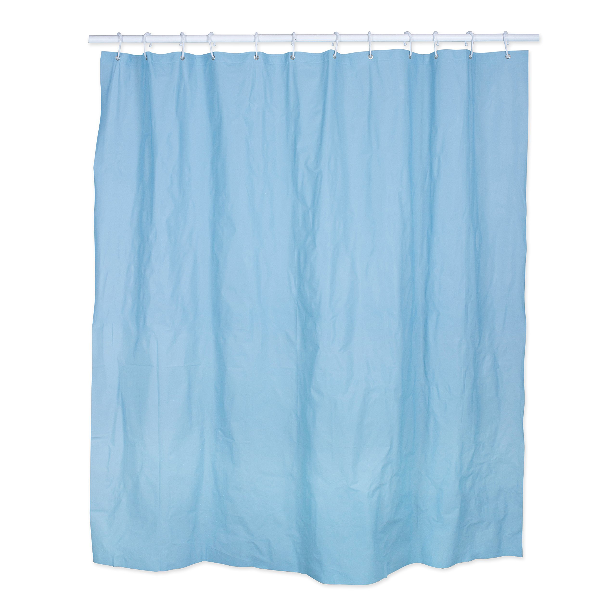 Polyester/PEVA Shower Curtain 70x72'', Antibacterial and Mildew Resistant, Waterproof/Water-Repellent to Resist Germs, Bacteria & Mold for Everyday Use-Light Blue