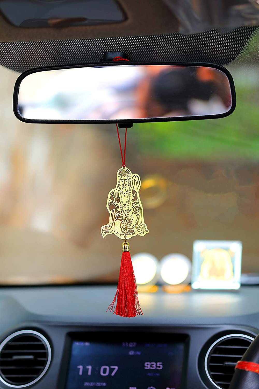 ADORAA Jai Hanuman Bajrangbali Hanging Accessories for Car Rear View Mirror Decor in Brass