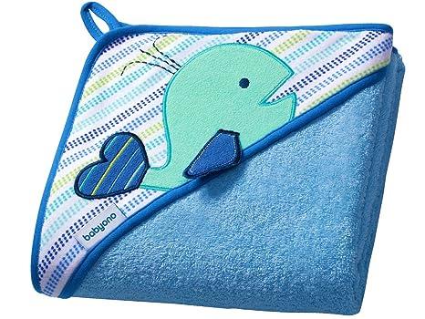 Bebé toalla de baño con capucha TERRY / Toalla capucha Niño 100x100cm (azul/ballena