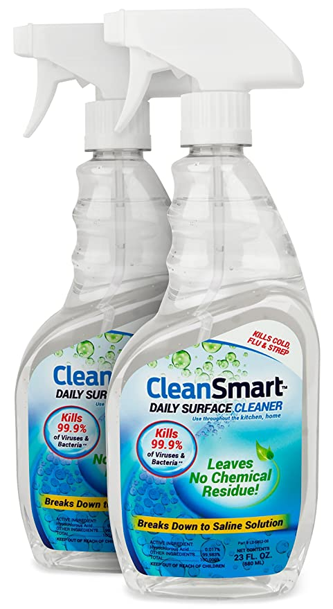 CleanSmart Daily Surface Cleaner for the Bathroom, 23 ounce Spray (Pack of  2), Kills 99 9% of Bacteria, Viruses, Germs, Mold, and Fungus
