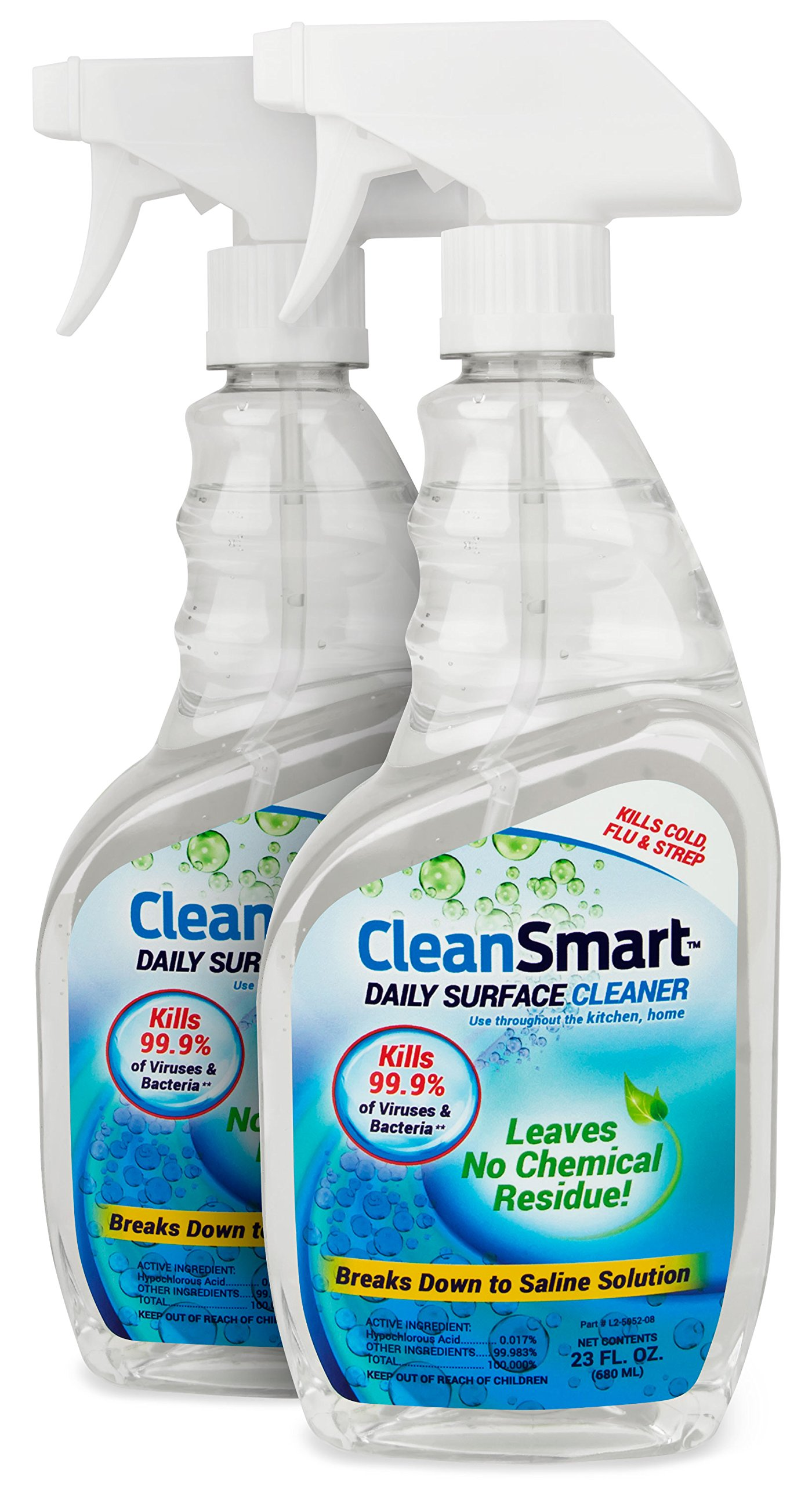 CleanSmart Daily Surface Cleaner, Home Use and CPAPs. Kills 99.9% of Bacteria, Viruses, Germs, Mold, Fungus. Leaves No Chemical Residue!!! Great CPAP cleaner, CPAP sanitizer. 23oz, 2PK