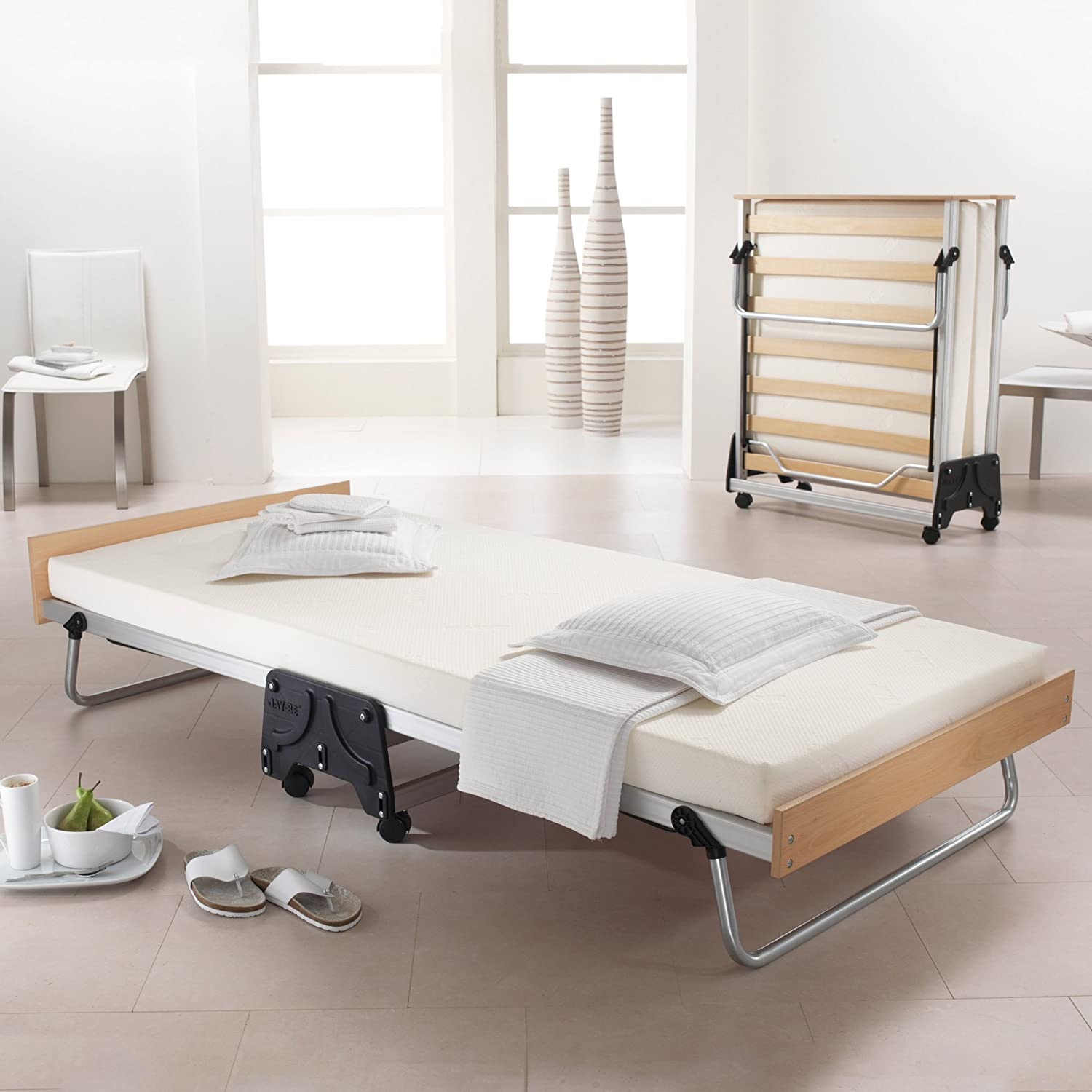 bed with and com aluminum j be mattress foam kitchen amazon folding dp memory jay dining guest frame