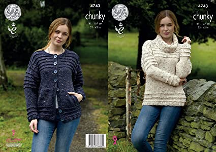 3ab745bd57fa5d Image Unavailable. Image not available for. Colour  King Cole 4743 Knitting  Pattern Womens Sweater and Cardigan in King Cole Chunky Tweed
