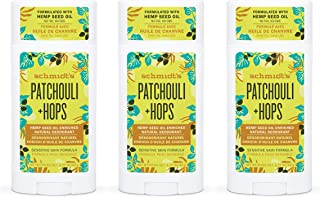 product image for Schmidt's Aluminum Free Natural Deodorant for Women and Men, Patchouli + Hops for Sensitive Skin with 24 Hour Odor Protection, Certified Cruelty Free, Vegan Deodorant, 3.25 oz (Pack of 3)