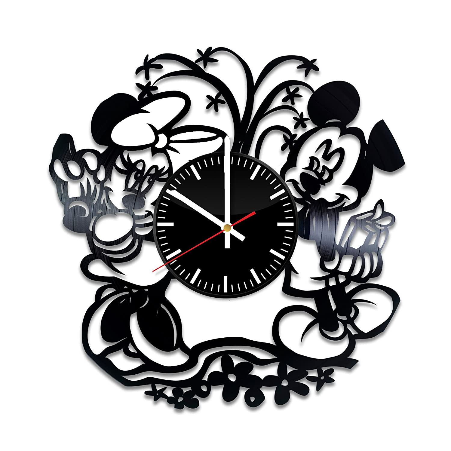 Mickey Mouse Vinyl Clock - Mickey and Minnie Mouse Walt Disney Vinyl Records Wall Art Room Decor Handmade Decoration Party Supplies Theme Stuff Birthday ...