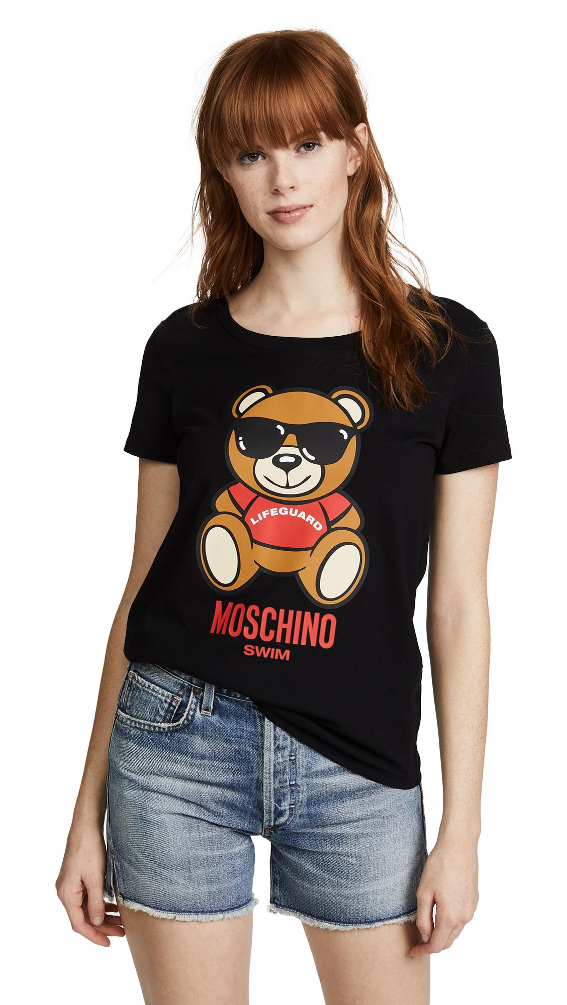 Moschino Women's Bear With Glasses Graphic Tee, Black, X-Small by MOSCHINO
