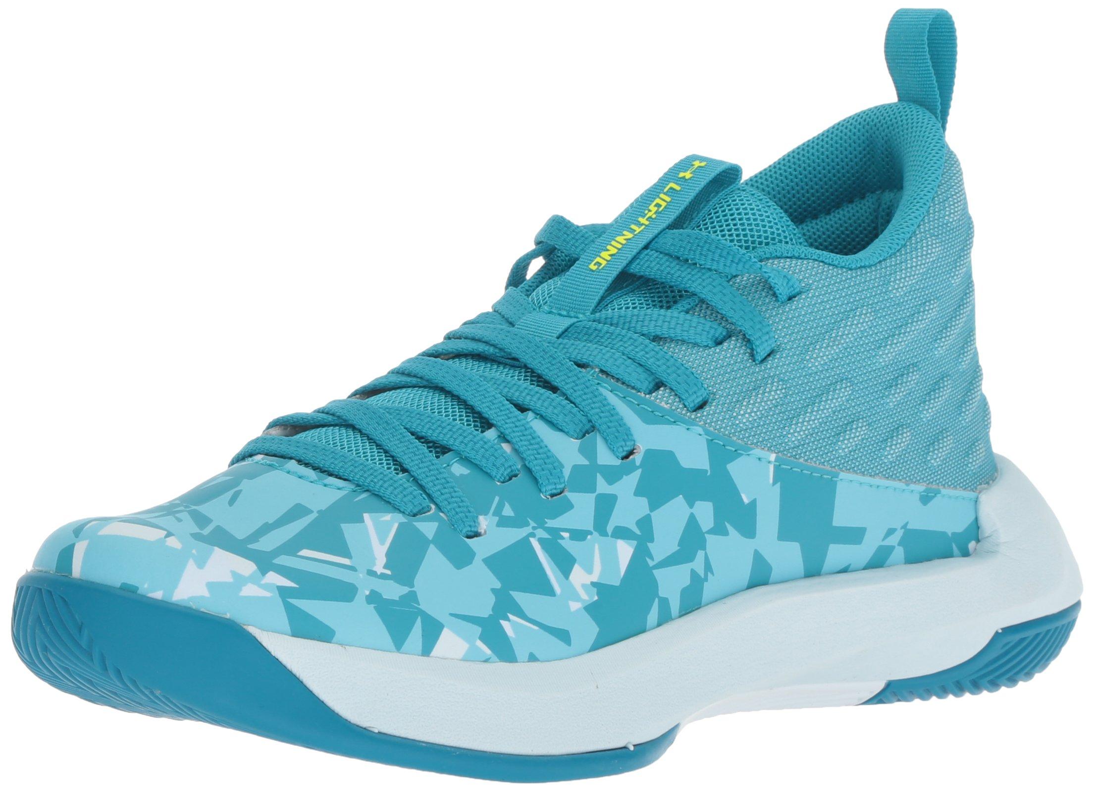 Under Armour Girls' Grade School Lightning 5 Basketball Shoe, Deceit (300)/Halogen Blue, 5.5 by Under Armour (Image #1)