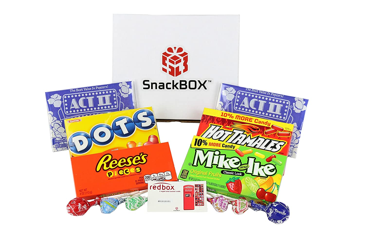 Redbox Movie Night Care Package for College Students, Valentines Day , Birthday and Finals (12 Items) From Snack Box