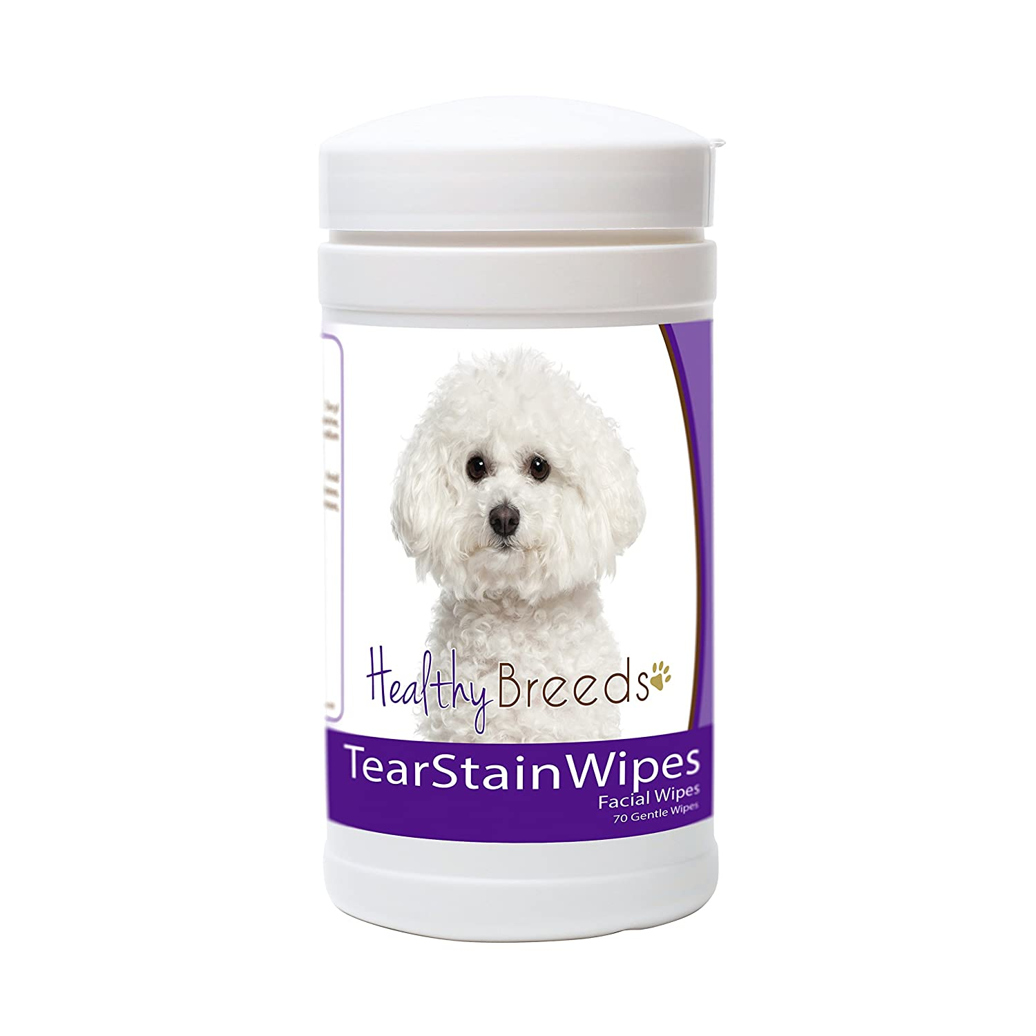 Healthy Breeds Dog Tear Stain Remover Wipes for Bichon Frise Over 200 Breeds Facial Eye Cleaner 70 Wipes Cleans Crust Stains Mucus Saliva Mild Gentle Fragrance Free