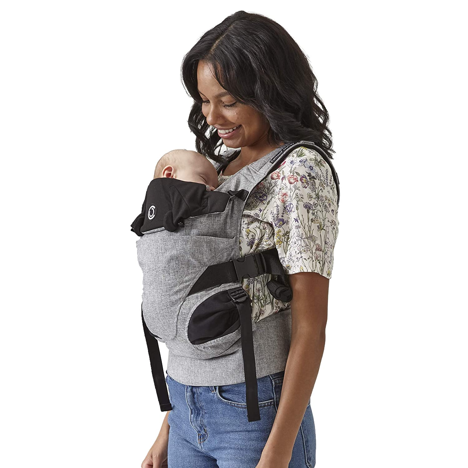 Contours Journey 5-in-1 Baby Carrier, 5 Carrying Positions, No Infant Insert Required, Hip-Healthy, 3 Storage Pockets, Adjustable UPF 25 Sunshade, Comfortable Cotton Jersey Mesh, Graphite Grey