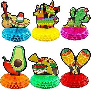 "6 PCs Cinco De Mayo Fiesta Honeycomb Table Centerpiece 8.5"" Party Decoration for Fun Fiesta Taco Party Supplies, Luau Event Photo Props, Mexican Theme for Carnivals Festivals, Dia De Muertos"