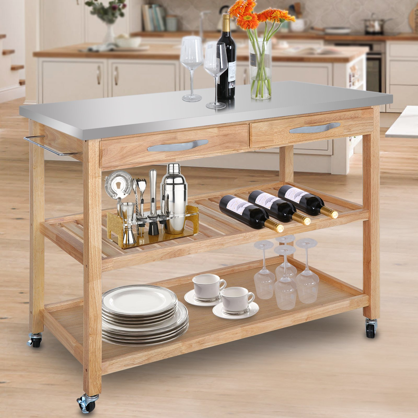 SUPER DEAL Zenchef Rolling Kitchen Island Utility Kitchen Serving Cart w/Stainless Steel Countertop, Spacious Drawers and Lockable Wheels, Natural (Upgraded Stainless Steel)