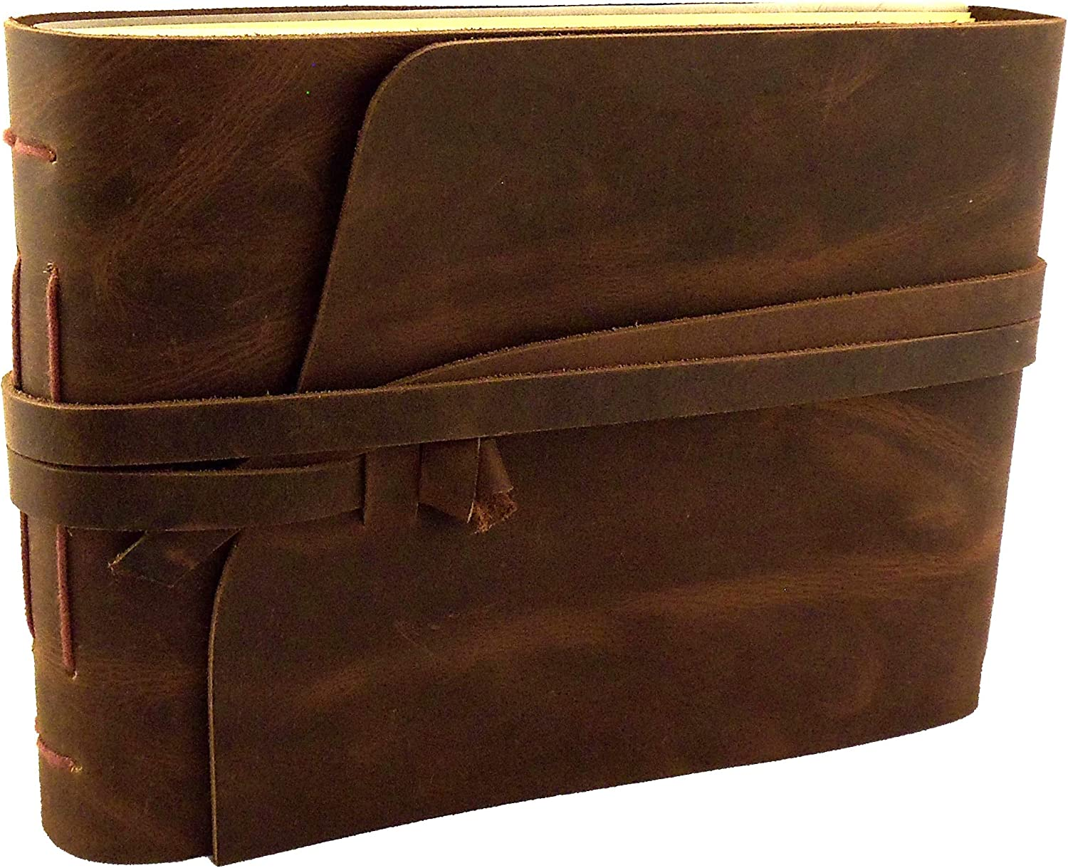 Rustic Genuine Leather Scrapbook Photo Album with Gift Box - Scrapbook Style Pages - Holds 100 4x6 or 5x7 Photos - Memory Book