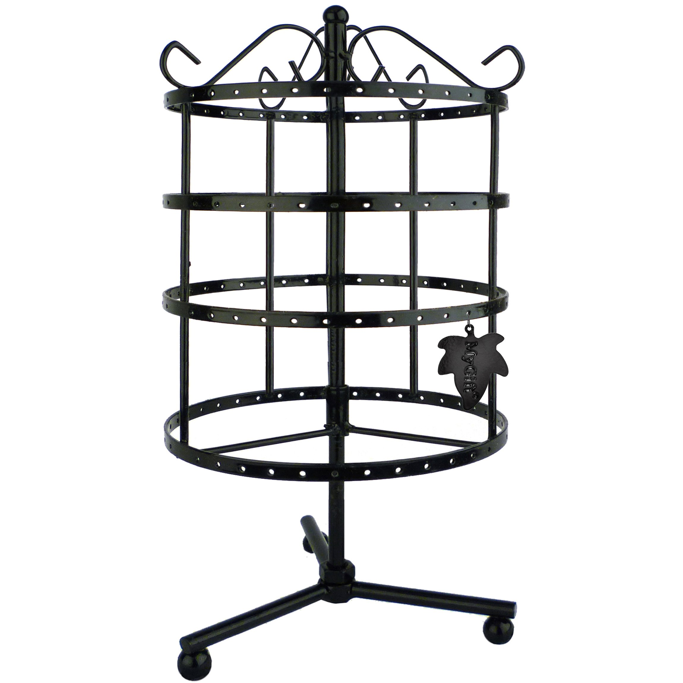 MyGift 4 Tiers Black Rotating Spin Table 92 Pairs Earring Organizer/Jewelry Display Stand