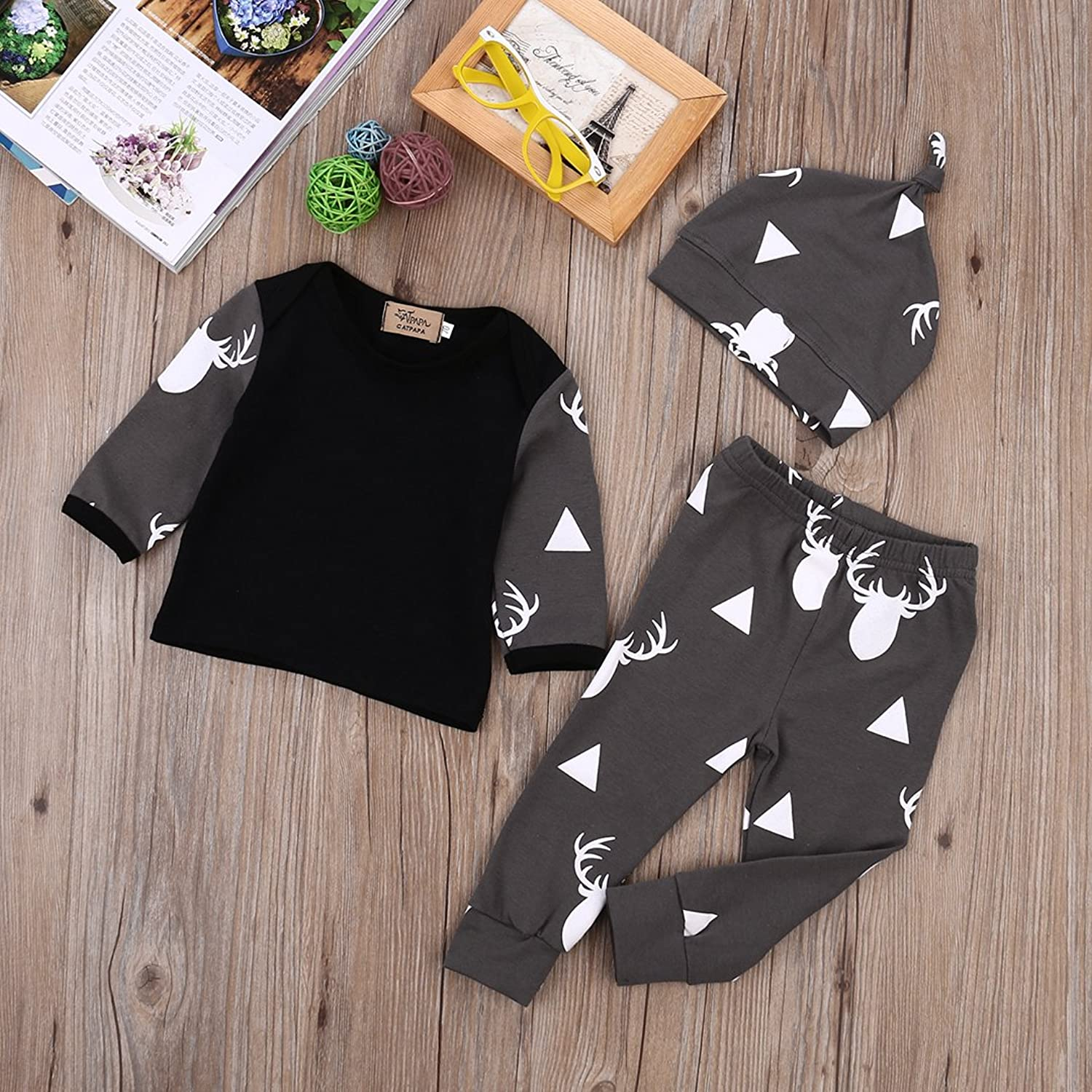 amazoncom newborn baby girl boy clothes deer tops tshirtpants leggings 3pcs outfits set clothing