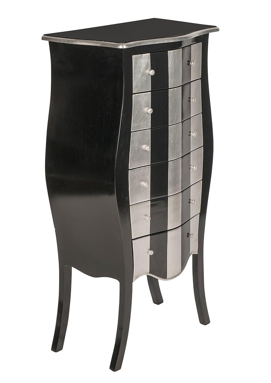 Kommode, 55 cm breit, schwarz und silber