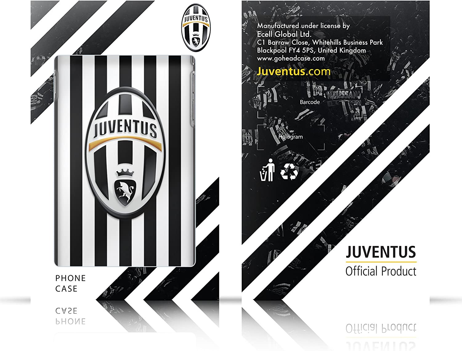 Official Juventus Football Club Plain Various Designs Black Armour Lite Case Compatible for iPhone X//iPhone Xs
