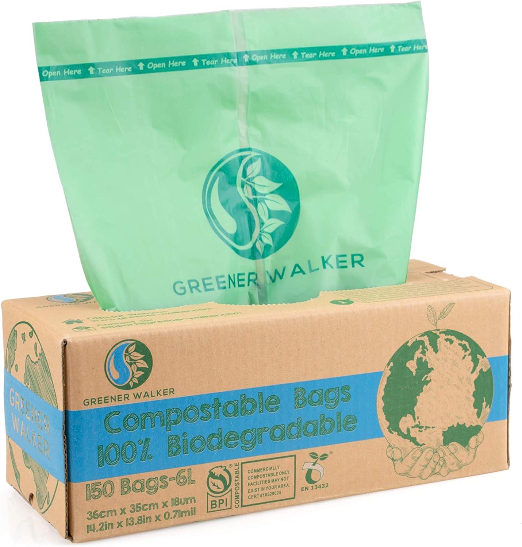 Greener Walker 100% Compostable Trash Bags, 1.6 Gallon-150Bags, ASTM D6400 BPI Biodegradable Food Kitchen Waste Bags