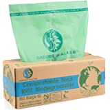 Greener Walker 100% Compostable Trash Bags, 1.6 Gallon-150Bags, ASTM D6400 BPI Biodegradable Food Kitchen Waste Bags