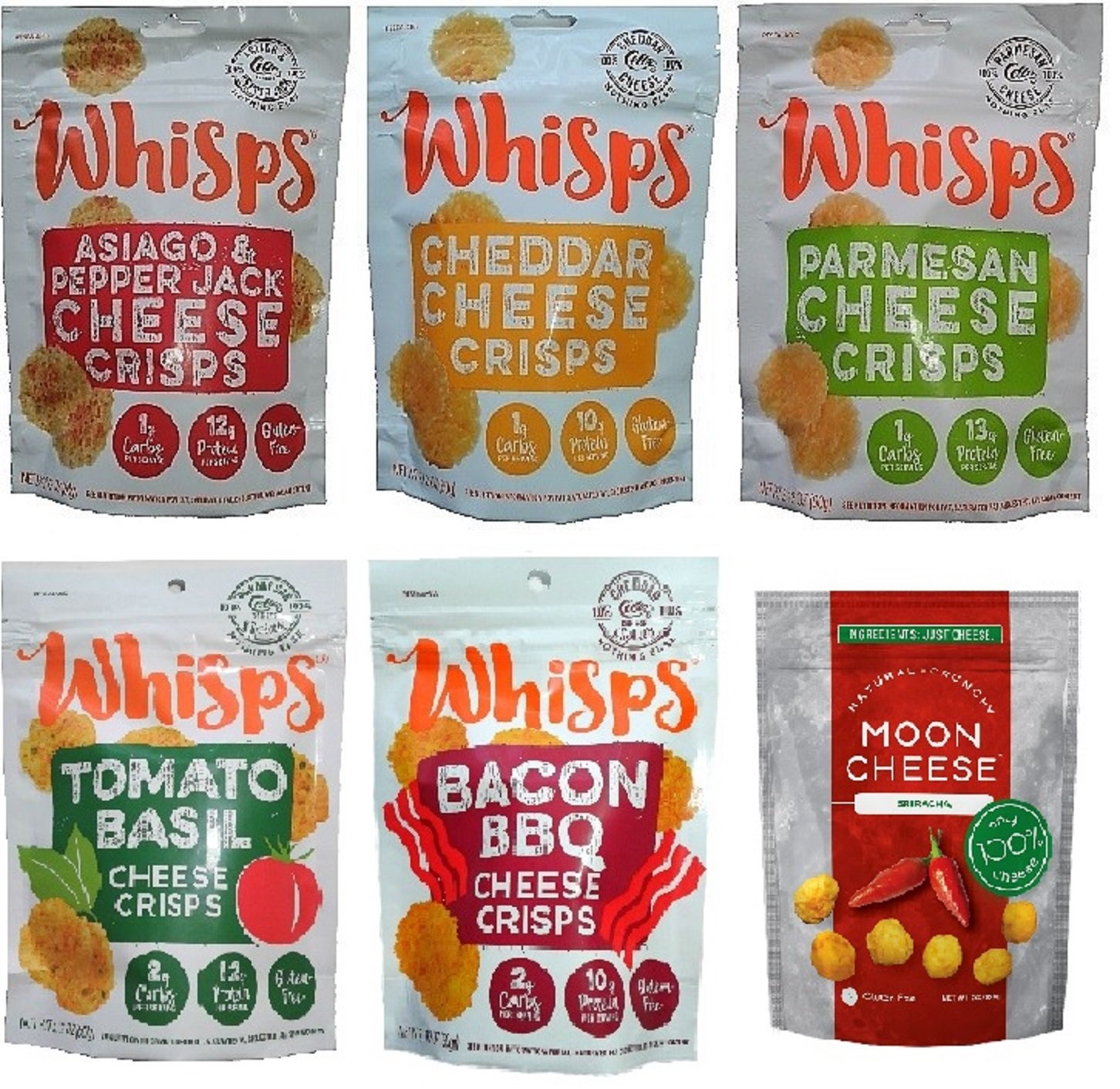 Low Carb, Gluten Free, High Protein, 100% Cheese - Whisps Cheese Crisps 5 Flavors (2.12oz) and Moon Cheese Sriracha (2oz) 6 Pack Bundle