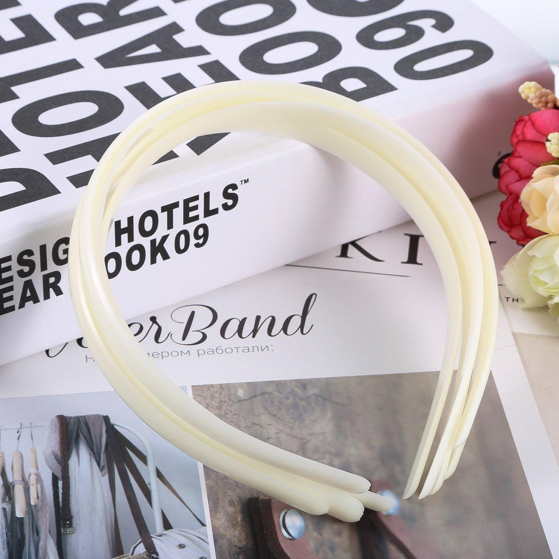 Hicarer 30 Pack Plastic Hair Headband 10 mm Plain No Teeth DIY Hair Bands Plain  Headbands b9af8d4af3f