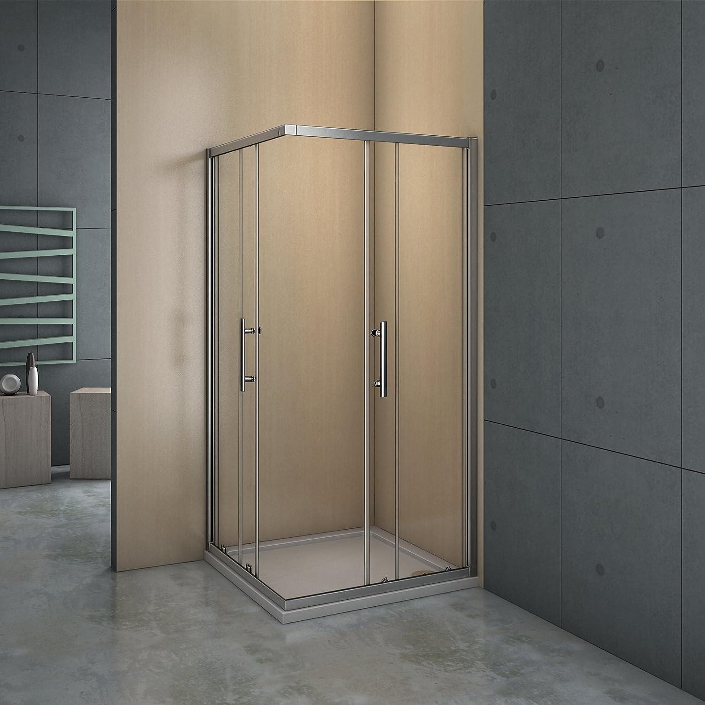 Mampara de ducha angular - 2 Fijas + 2 Correderas, Puertas Correderas 90x90x195cm: Amazon.es: Bricolaje y herramientas