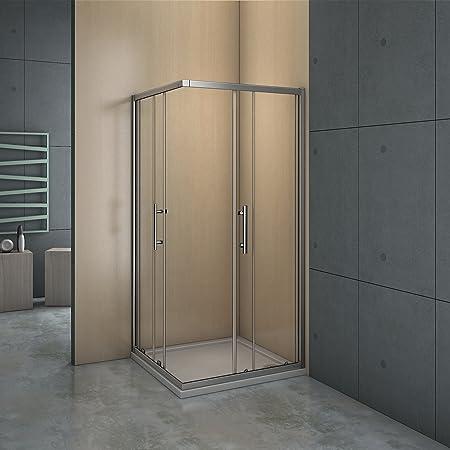 Mampara de ducha angular - 2 Fijas + 2 Correderas, Puertas ...
