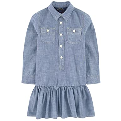 b8fc4d6482 Amazon.com  Ralph Lauren Polo Girls Chambray Shirtdress Dress  Clothing