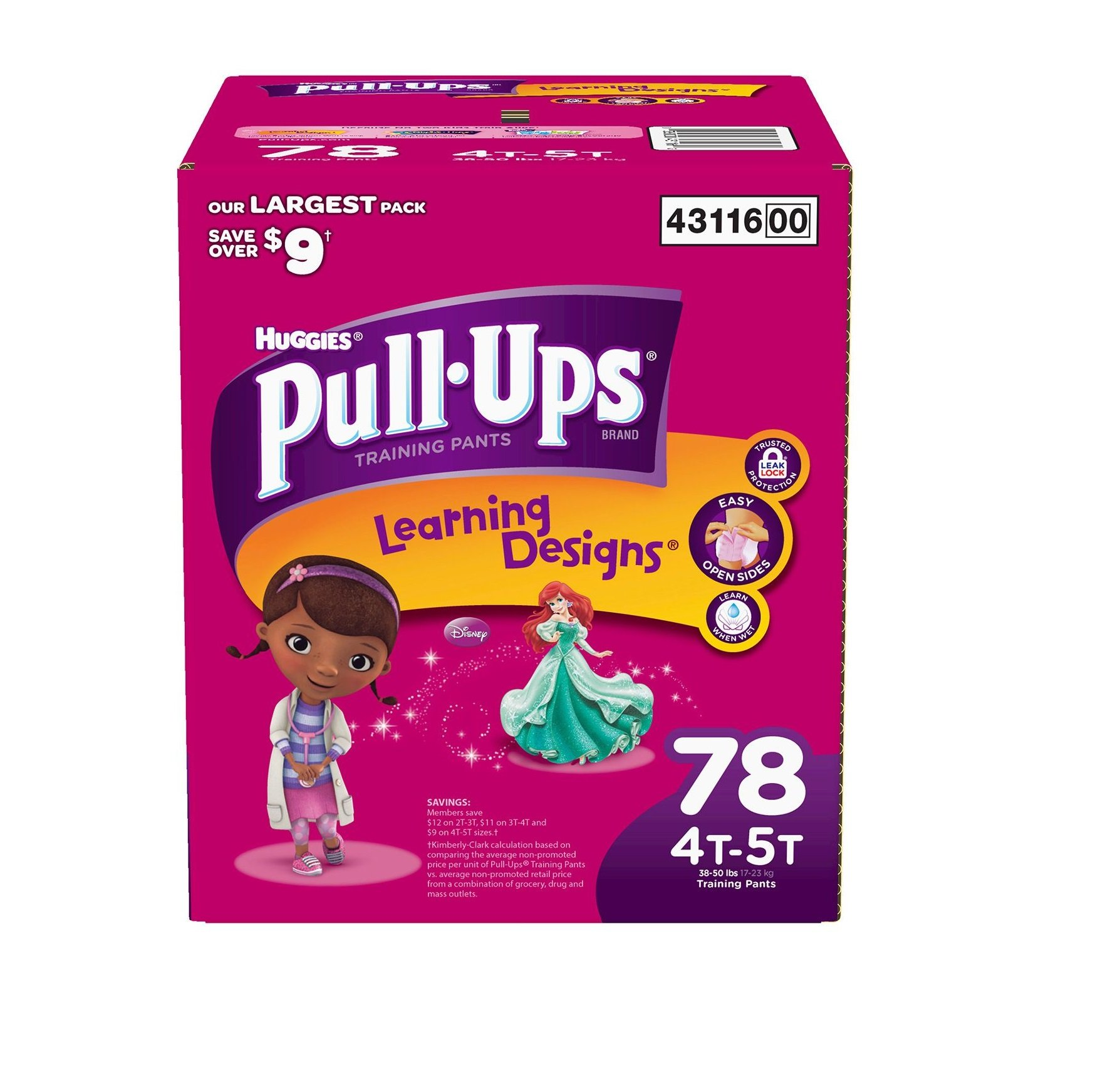 Pull-Ups Training Pants with Learning Designs, Girls, 4T-5T, 78 Count