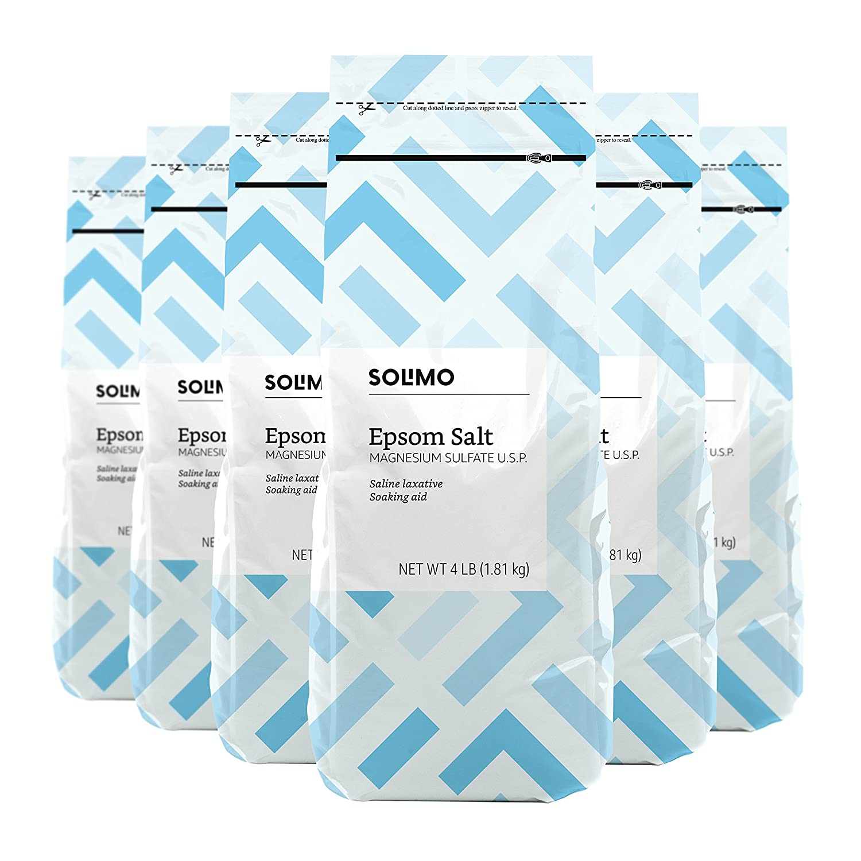 Amazon Brand - Solimo Epsom Salt Soak, Magnesium Sulfate USP, 4 Pound (Pack of 6)