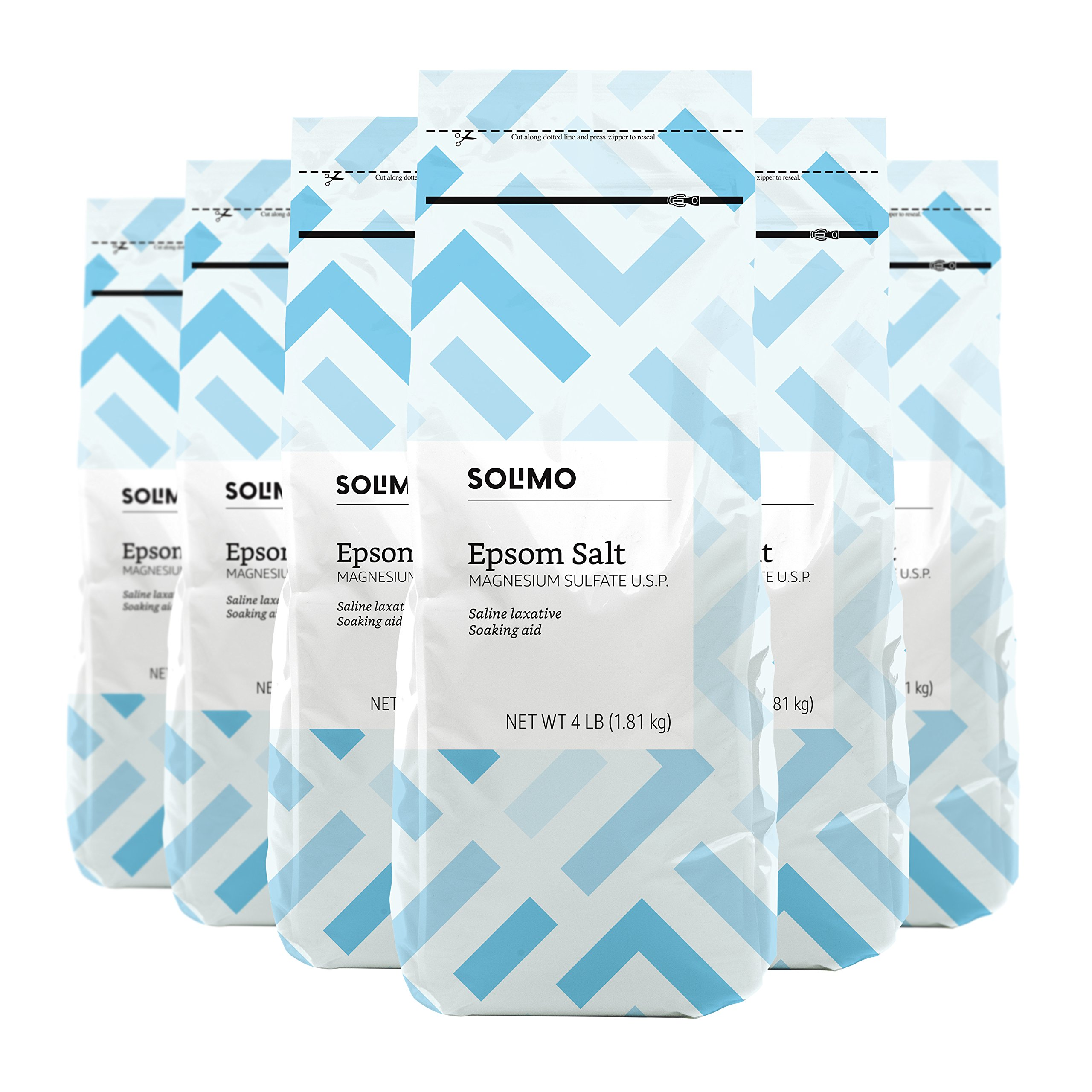 Amazon Brand - Solimo Epsom Salt Soak, Magnesium Sulfate USP, 4 Pound (Pack of 6)