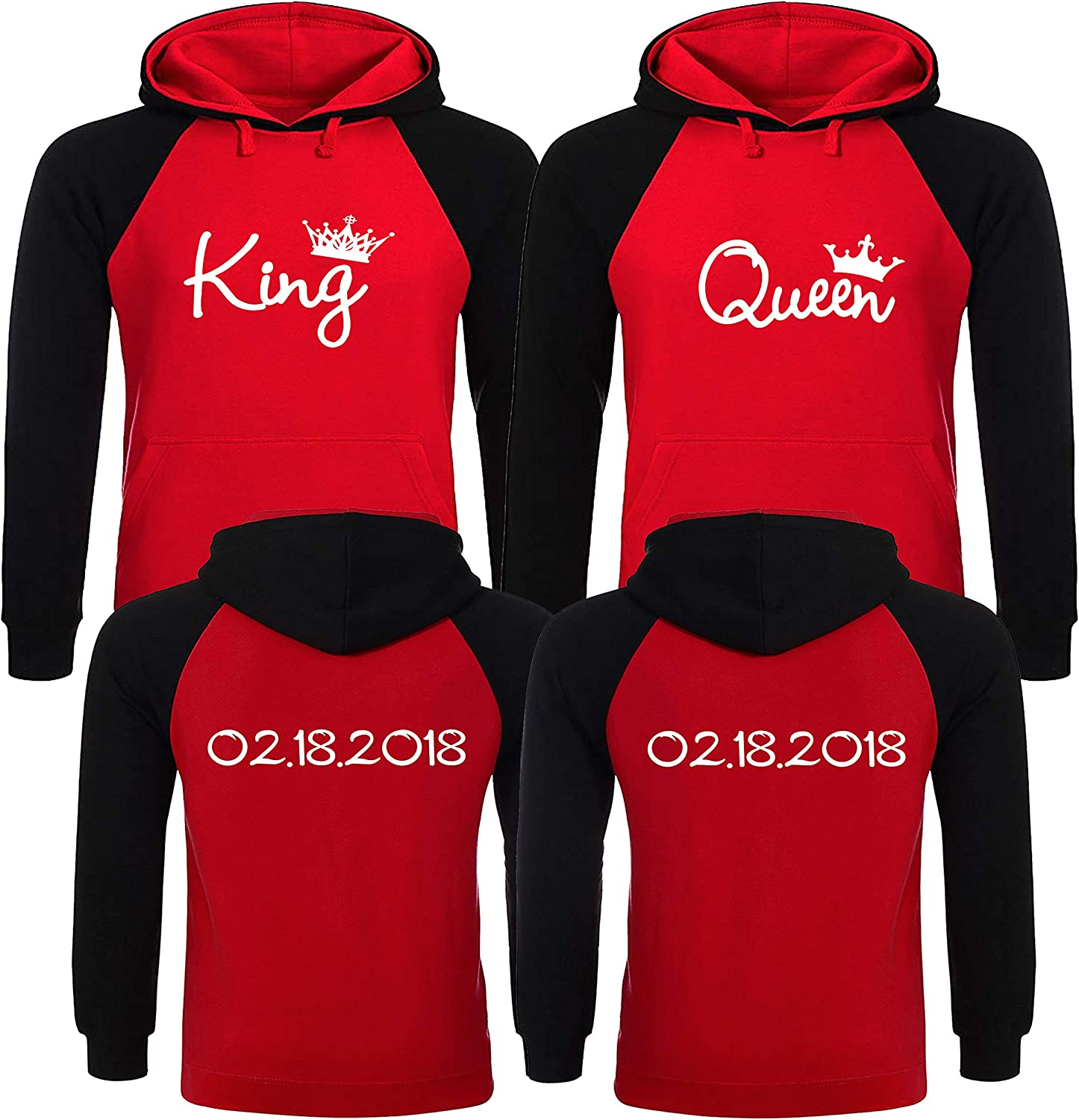 Customize it! Custom Dates on The Back King Queen Couple Hoodies