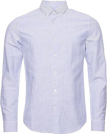 Superdry Edit Linen Button Down Camisa Hombre Blue Stripe L: Amazon.es: Ropa y accesorios