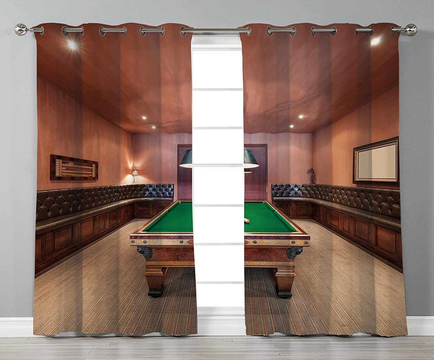 Thermal Insulated Blackout Grommet Window Curtains Modern Decor Entertainment Room In Mansion Pool Table Billiard Lifestyle Photo Print Cinnamon Brown Green 2 Panel Set Window Drapes For Living Room B Amazon In Home Kitchen