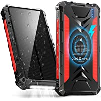 Solar Power Bank 36000mAh, QI Wireless Outdoor Rainproof Portable Solar Charger with 3 Outputs & Dual Inputs & LED…