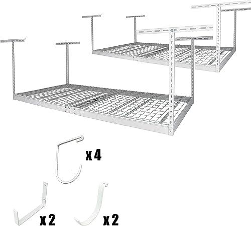 SafeRacks 4×8-2 Rack Package w Accessory Hooks 24-45 Drop White