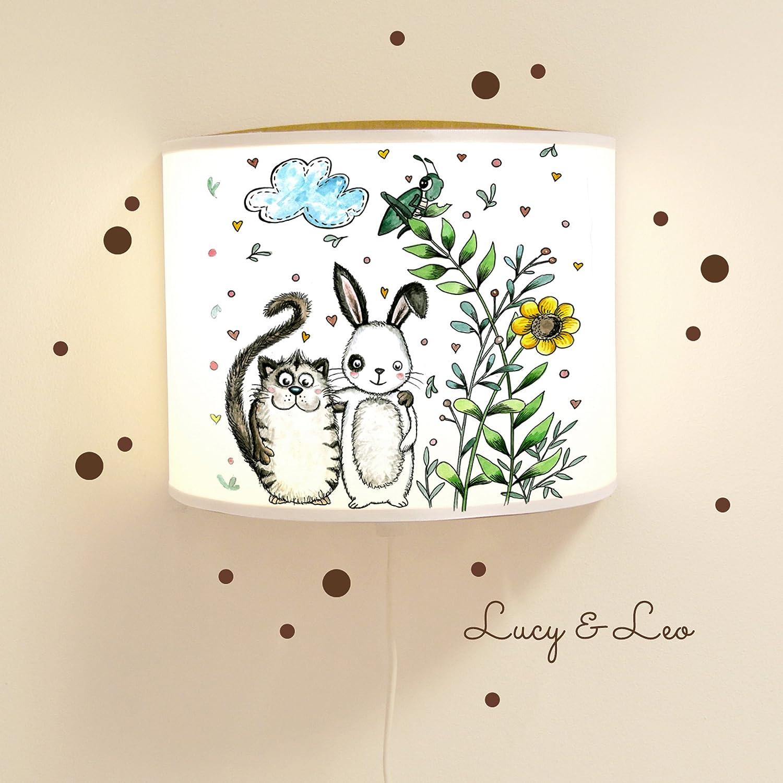 Leseschlummerlampe Leselampe Schlummerlampe Kinderlampe Lampe Freunde Katze und Hase mit Wandtattoo und Wunschnamen Lampe mit fluoreszierenden Elementen und Nachleuchteffekt Ls18 - mit Wandtattoo