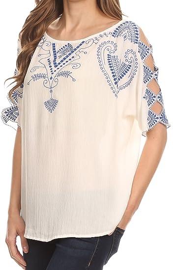 Blusa Camiseta Top Sakkas Enya amplia con cuello redondo con diseño Batik y mangas abiertas: Amazon.es: Ropa y accesorios