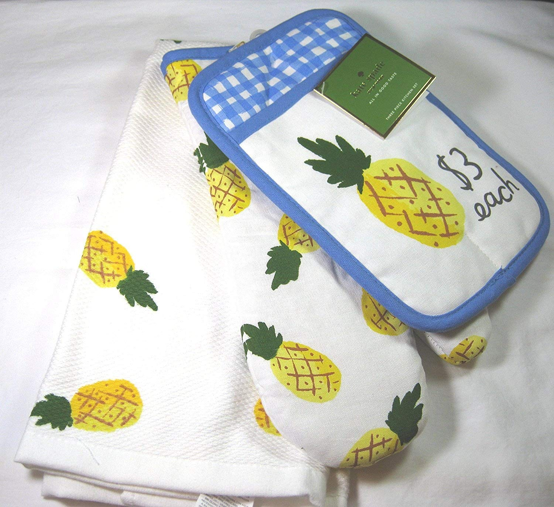 Kate Spade 3 Piece Pineapple Kitchen Towel Set