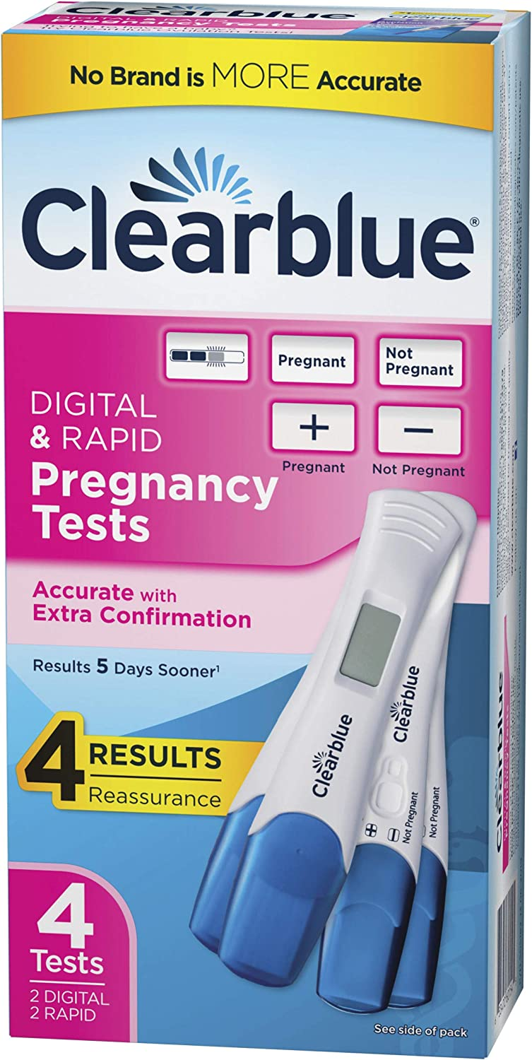 Clearblue Pregnancy Test Combo Pack, 4ct- Digital with Smart Countdown & Rapid Detection - Value Pack