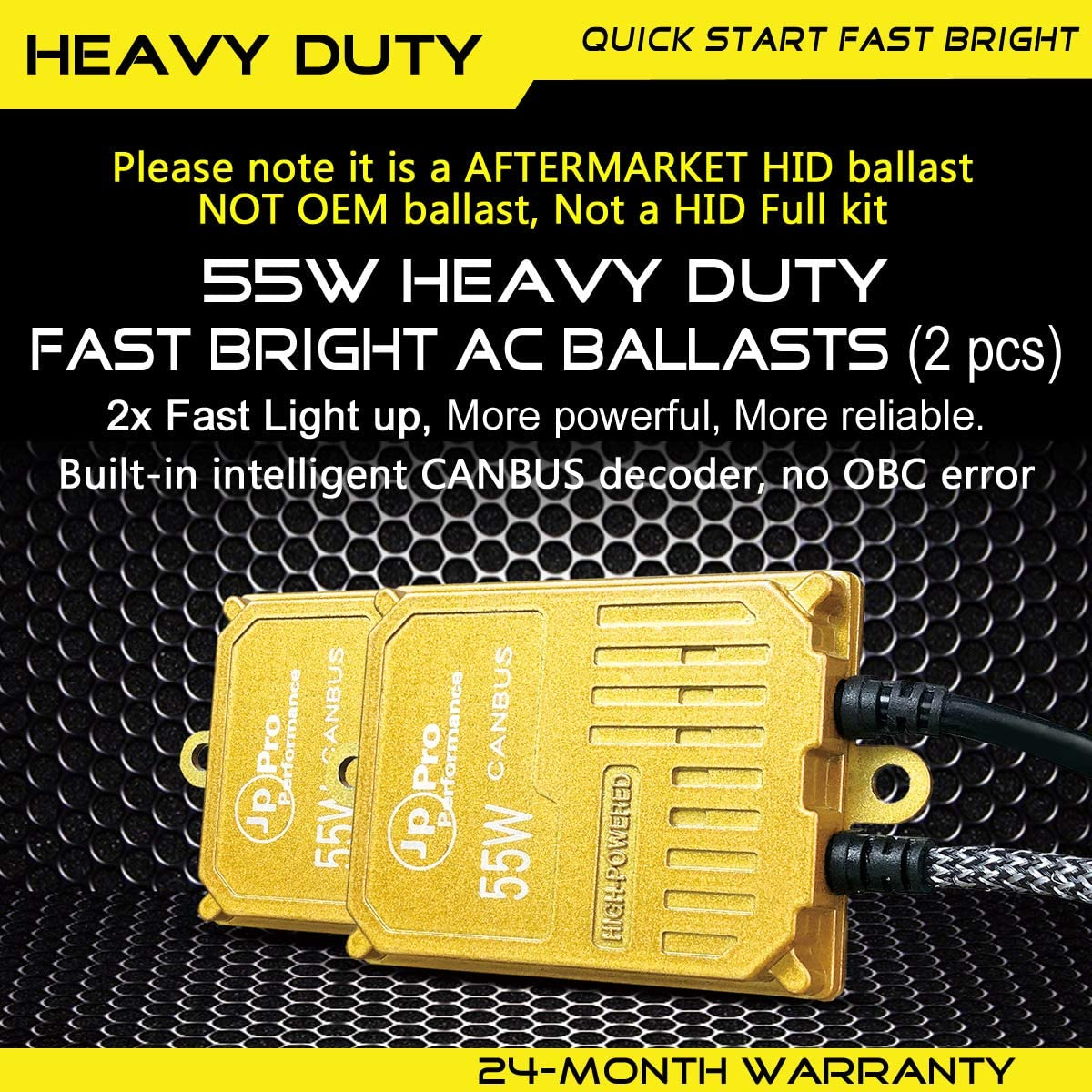 Pack of 2 55W 9006 HB4 Heavy Duty Fast Bright CANBUS AC HID Xenon Replacement Ballast for 12V Vehicles Aftermarket HID System