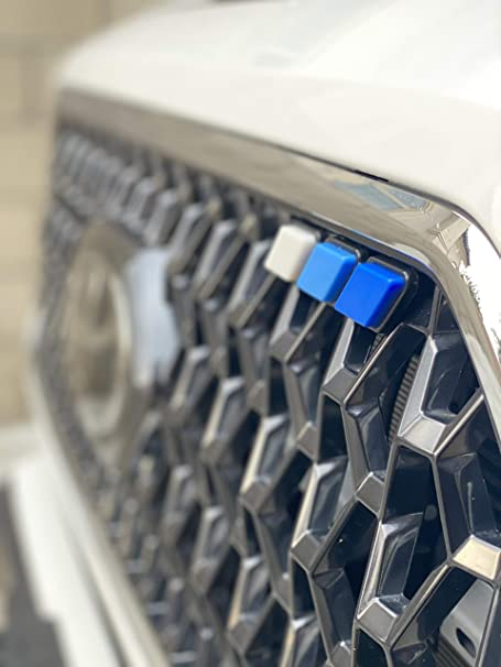 Gray Black Tricolor Grille Badge Durable Tri-Color Grille Emblem 3 Colors with Tool Installation for Car Mesh Split Grille ihreesy Car Front Grille Badge White