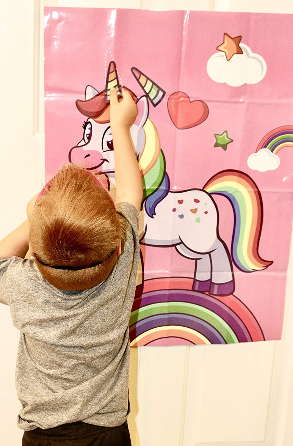 OnlinePartySupply.com Pin the Horn on the Unicorn Party Game with Extra Large Poster UNI2