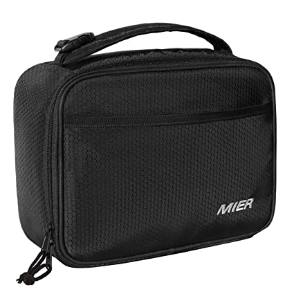 dc87b3541bfc MIER Kids Insulated Lunch Box Bag Small Cooler Lunch Bag for Boys, Girls,  Can Clip onto Backpack, Tote, Strollers, Black