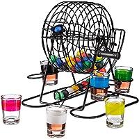 Relaxdays Trinkspiel Bingo, Lostrommel mit Kurbel & Halterung, 6 Shotgläser, 48 Kugeln, lustiges Partyspiel, JGA, bunt