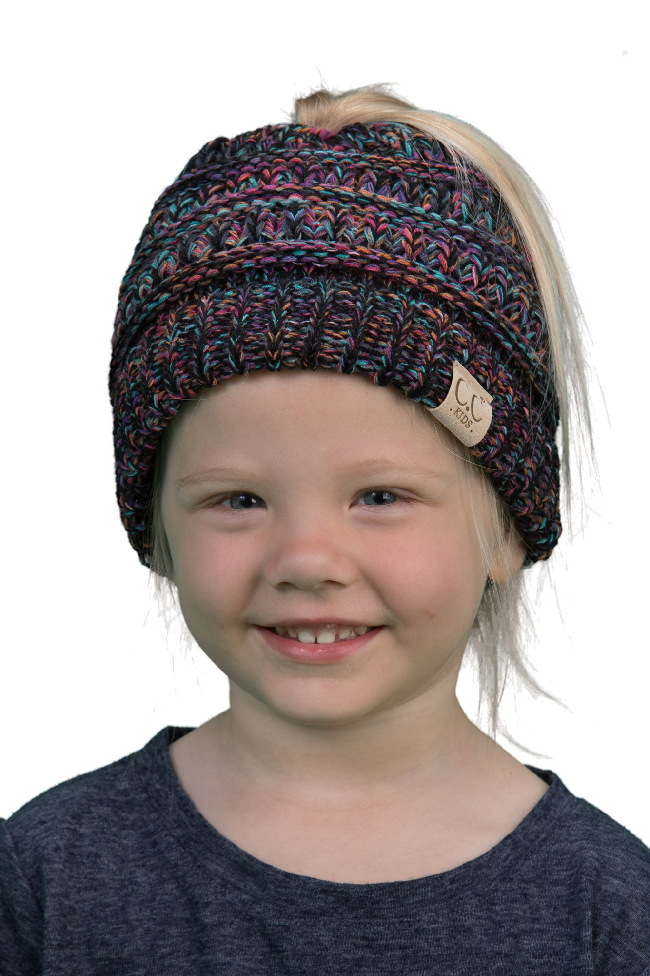 BT2-3847-816.0641 Kids Messy Bun Ponytail Hat Girls Beanie Tail - Kaleidoscope