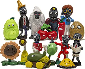 Plants vs Zombie Set of 16pcs Figurines PVZ Action Figures Gift Cake Topper Cupcake Figures Decorative Toys Size 1.2-3.1 inches